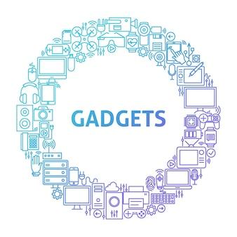 Conceito de círculo de ícone de linha gadget. ilustração em vetor de objetos de tecnologia e eletrônicos.