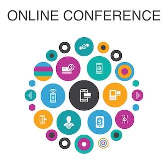Conceito de círculo de infográfico de conferência online. bate-papo em grupo de elementos inteligentes da iu, aprendizado online, webinar, teleconferência