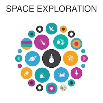 Conceito de círculo de infográfico de exploração do espaço. foguete de elementos de iu inteligente, nave espacial, astronauta, planeta