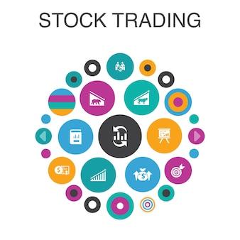 Conceito de círculo de infográfico de negociação de ações. elementos de iu inteligentes, mercado em alta, mercado em baixa, relatório anual, alvo