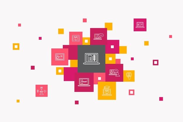 Conceito de círculo de infográfico de segurança de internet. elementos de iu inteligente segurança cibernética, leitor de impressão digital, criptografia de dados, senha