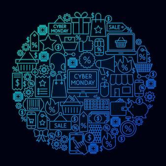 Conceito de círculo de linha cyber segunda-feira. ilustração em vetor de objetos de venda de compras.