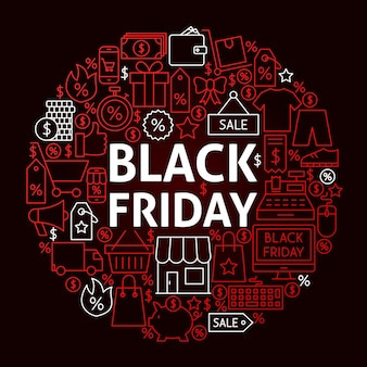 Conceito de círculo de linha de sexta-feira negra. ilustração em vetor de objetos de venda de compras.