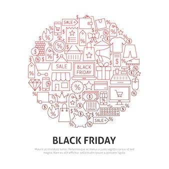 Conceito de círculo de sexta-feira negra. ilustração em vetor de outline design.