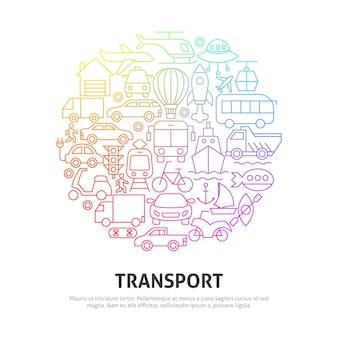 Conceito de círculo de transporte. ilustração em vetor de outline design.