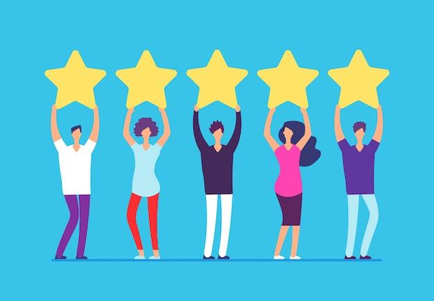Conceito de classificação de cinco estrelas. feedback positivo da revisão do cliente.