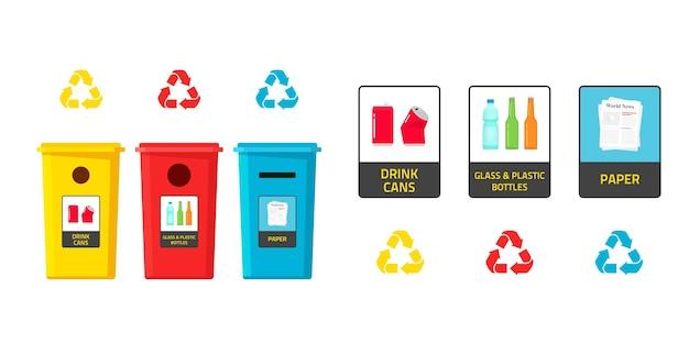 Conceito de classificação de resíduos com reciclagem e descarte de lixeiras e adesivos