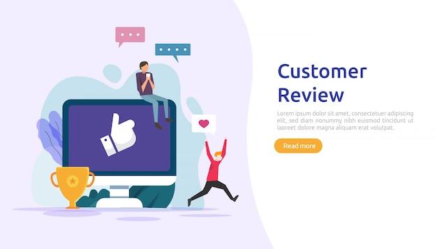 Conceito de classificação de revisão do cliente. caráter de pessoas dando avaliação de feedback. nível de satisfação e suporte crítico com smartphone para página de destino da web, mídia social, pôster, anúncio, promoção ou mídia impressa