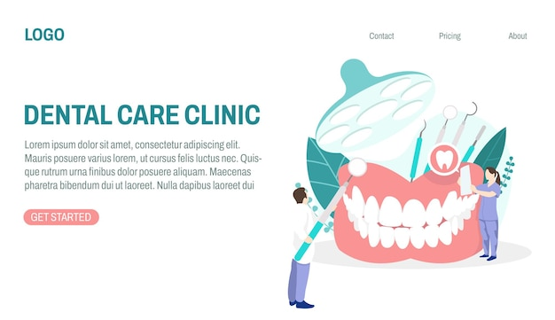 Conceito de clínica de atendimento odontológico com ilustração de um médico examinando os dentes de um paciente