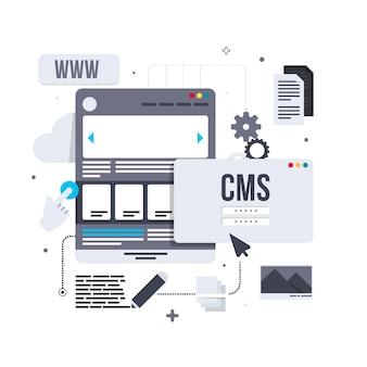 Conceito de cms em ilustração de design plano