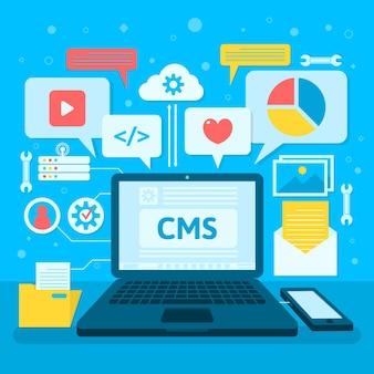 Conceito de cms plano com vários aplicativos abertos