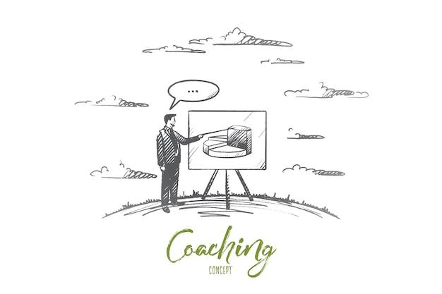 Conceito de coaching. mão desenhada homem treinador perto da placa. indivíduo do sexo masculino de terno com ponteiro coaching ilustração isolada.