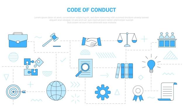 Conceito de código de conduta com banner de modelo de conjunto de ícones
