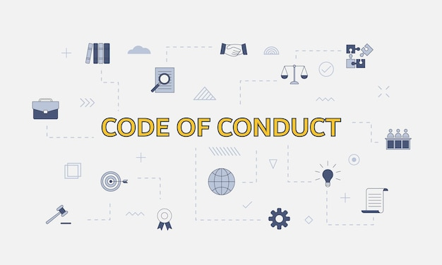 Conceito de código de conduta com conjunto de ícones com palavra grande ou texto na ilustração vetorial central