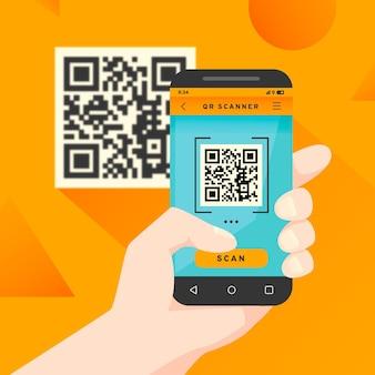 Conceito de código qr de digitalização de smartphone