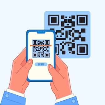 Conceito de código qr de digitalização em smartphone