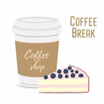 Conceito de coffee-break. caneca e cheesecake