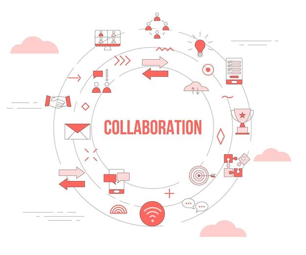 Conceito de colaboração com conjunto de ícones de banner de modelo e ilustração em vetor de forma redonda de círculo