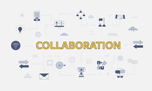 Conceito de colaboração empresarial com conjunto de ícones com palavra ou texto grande na ilustração vetorial central