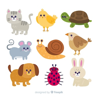 Conceito de coleção animal bonito dos desenhos animados