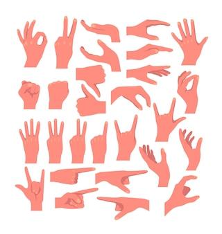 Conceito de coleção conjunto de ícones isolados de gestos de mãos