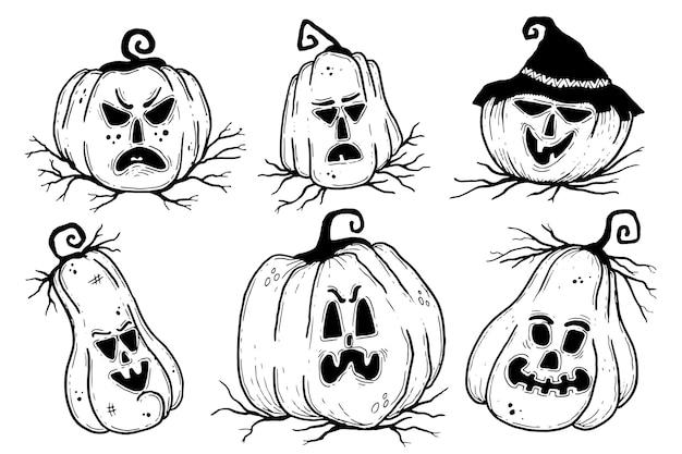 Conceito de coleção de abóbora de halloween desenhado à mão