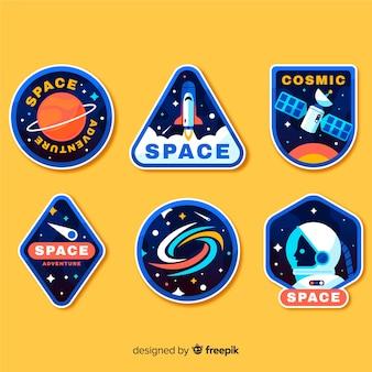 Conceito de coleção de adesivo de espaço em quadrinhos