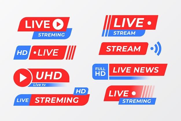Conceito de coleção de banner de notícias de transmissões ao vivo