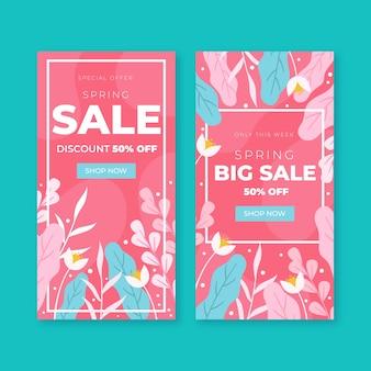 Conceito de coleção de banner de venda de primavera de design plano