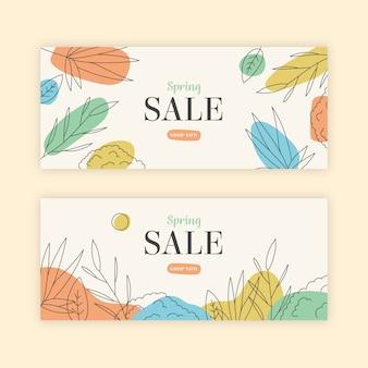 Conceito de coleção de banner de venda primavera desenhados à mão