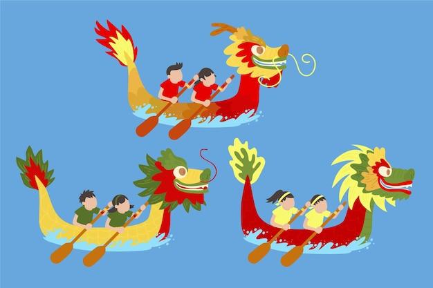 Conceito de coleção de barco dragão desenhados à mão