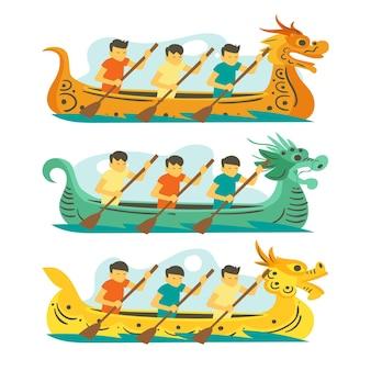 Conceito de coleção de barco dragão