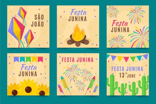 Conceito de coleção de cartão de festa junina
