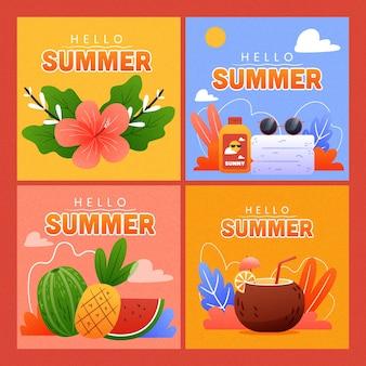 Conceito de coleção de cartão de verão desenhados à mão