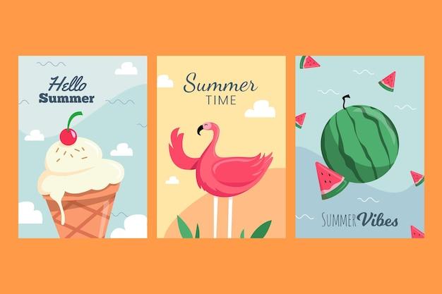 Conceito de coleção de cartão de verão