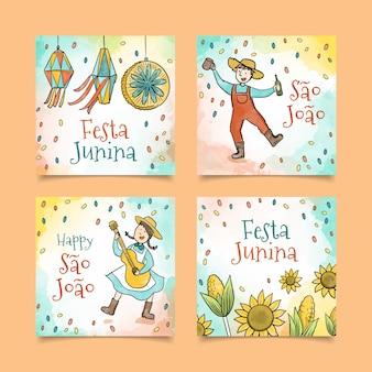 Conceito de coleção de cartão festa junina aquarela