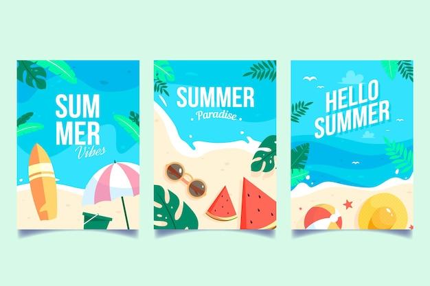 Conceito de coleção de cartões de verão
