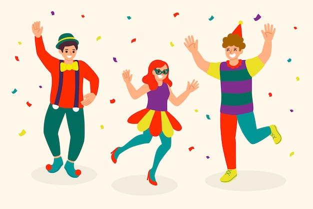 Conceito de coleção de dançarinos de carnaval de ilustração