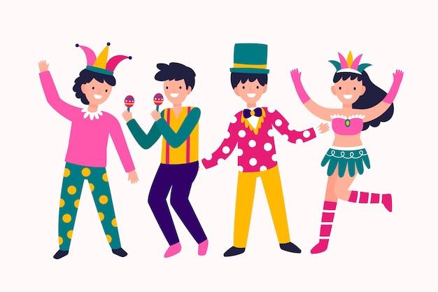 Conceito de coleção de dançarinos de carnaval