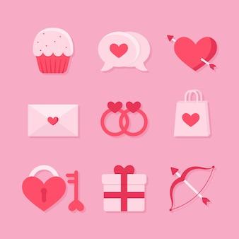 Conceito de coleção de elemento de dia dos namorados