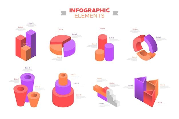 Conceito de coleção de elementos infográfico