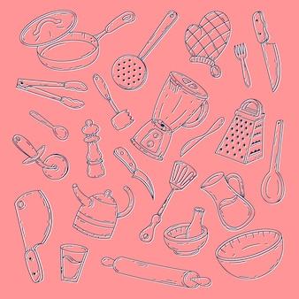 Conceito de coleção de ferramentas de comida desenhada de mão