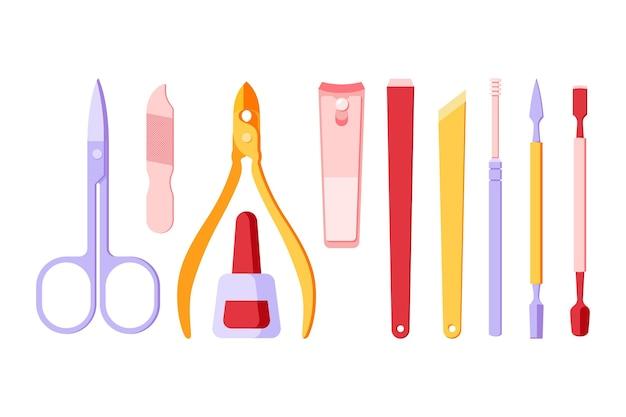 Conceito de coleção de ferramentas de manicure