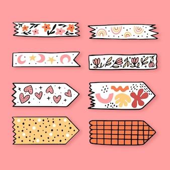 Conceito de coleção de fita washi desenhada à mão