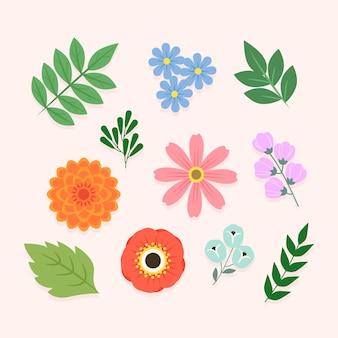 Conceito de coleção de flores de primavera colorida