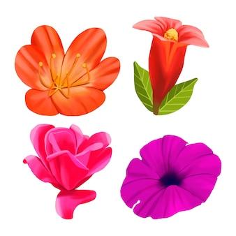 Conceito de coleção de flores em aquarela primavera