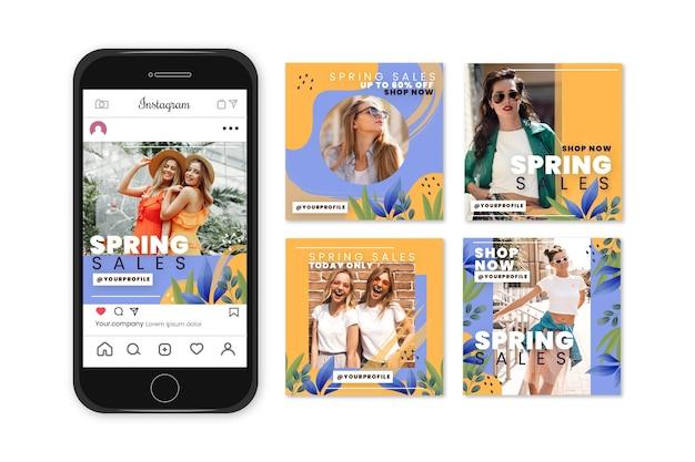 Conceito de coleção de história de instagram de venda de primavera