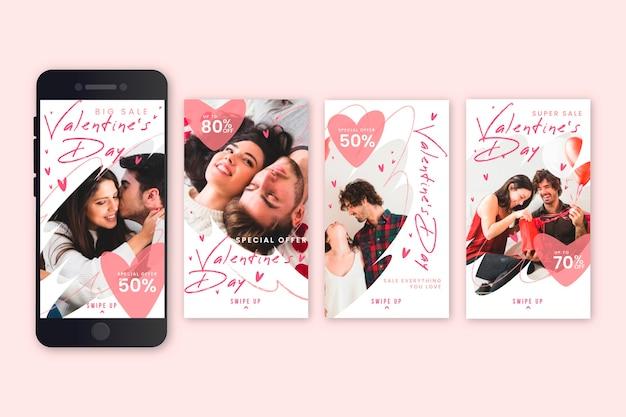 Conceito de coleção de história de venda dia dos namorados