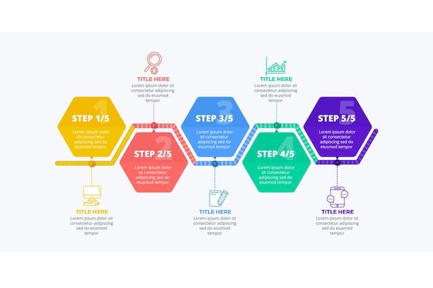 Conceito de coleção de infográfico de etapas