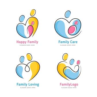 Conceito de coleção de logotipo de família